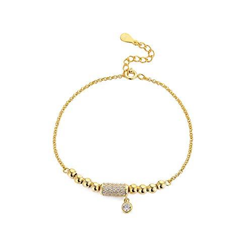1 unid plata pulseras de cadena para las mujeres 925 plata esterlina redonda perlas pulsera con extensión cadena oro