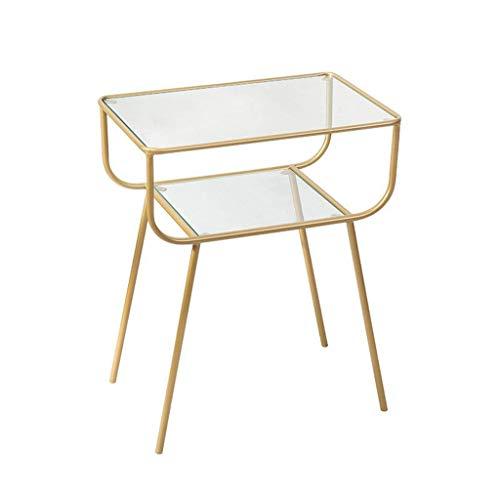 HCYY Mesa auxiliar auxiliar auxiliar para sofá, mesa de centro cuadrada, mesita de noche de cristal para sala de estar, dormitorio, balcón, mesa esquinera (color: dorado)