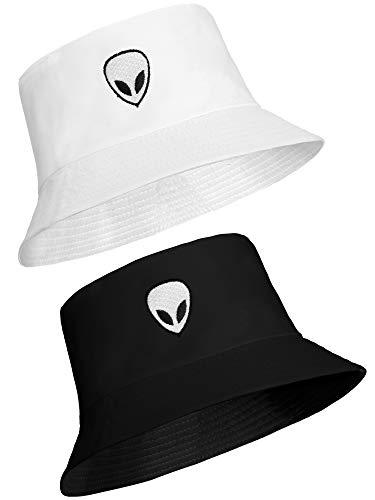 2 Piezas de Gorro de Pescador con Diseño Alienígena Gorro de Sol SOmbrero de Cubo Unisex para Actividades al Aire Libre