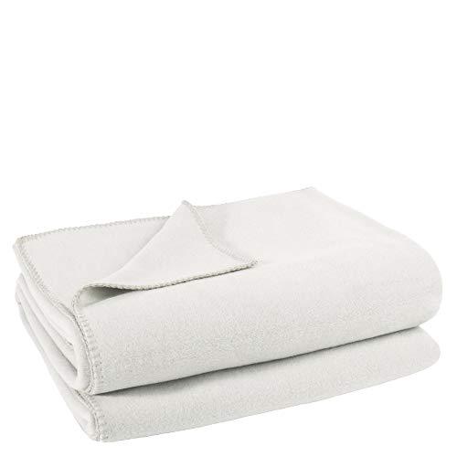Soft-Fleece-Decke – Polarfleece-Decke mit Häkelstich – flauschige Kuscheldecke – 160x200 cm – 010 offwhite – von 'zoeppritz since 1828'