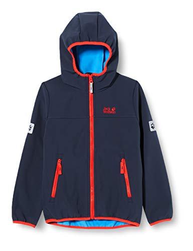 Jack Wolfskin Kinder FOURWINDS Jacket Kids Atmungsaktive Softshelljacke, Night Blue, 128