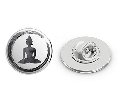 BRK Studio Watercolor Peaceful Thai Buddha Round Metal 0.75' Lapel Pin Hat Shirt Pin Tie Tack Pinback