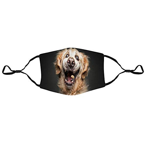 DONL9BAUER Hilarious Expression of Dogs Catching Treats 3-Layer Cotton Mouth Cover Funny Animal Reusable Washable Fashion Dust Mouth Protection with Adjustable Ear Loops Warm Unisex