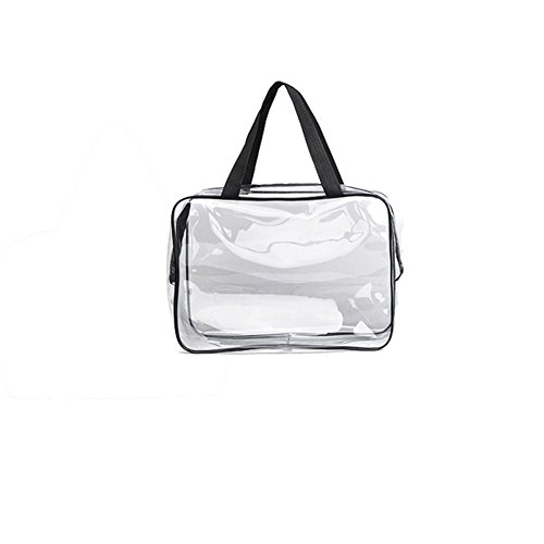 bdrsjdsb Portable Waterproof PVC Zipper Pouch Transparent Travel Cosmetic Wash Bag Storage Case Black M