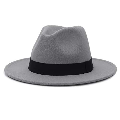 MARRYME Chapeau Fedora Homme Chapeau Trilby Feutre Femme Panama Chapeau Large Bord Unisexe Classique Jazz Hiver Chaud,Gris clair,Tour de tête:56-58 cm