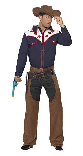 Smiffys Herren Rodeo-Cowboy Kostüm, Hemd, Chaps und Hut, Größe: M, 22664