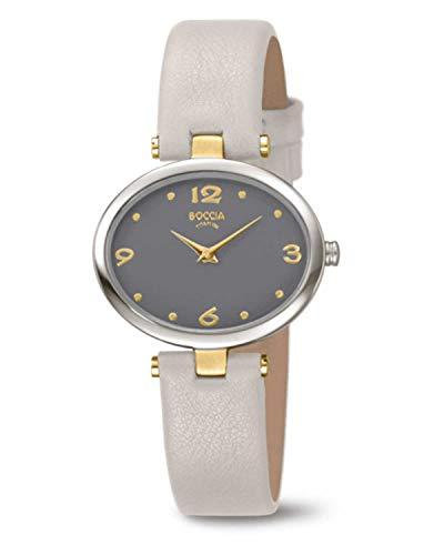 Boccia Damen Analog Quarz Uhr mit Leder Armband 3295-03