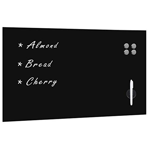 Tidyard Tableau Noir Magnétique Mural Verre 120x60 cm avec Tableau Effaçable à Sec et Essuie-Glace et Stylo Blanc et Aimant