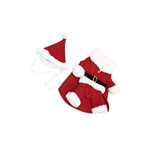 TOYANDONA Perro Navidad Disfraces Mascota Navidad Santa Claus Traje con Sombrero Algodón Gato Cachorro Mono de Vacaciones Vestido para Cachorro Ropa de Navidad Traje (Rojo Blanco) M