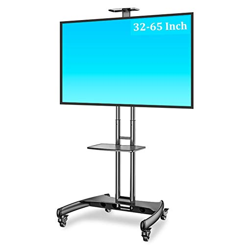 ERRU Portable TV Cart Height Adjustable - 32 to 65 Inch Mobile TV Stand with Webcam Shelf/Wheels, Floor Trolley for School/Office