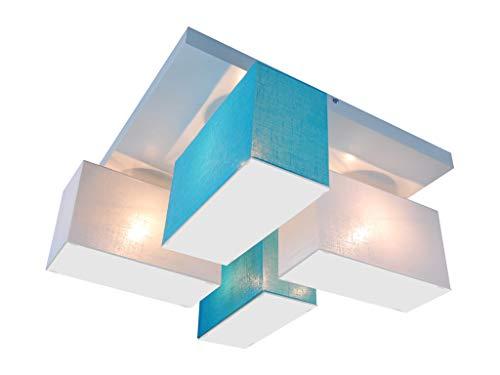 Deckenlampe Deckenleuchte mit Blenden BLEJLS45WETUD Leuchte Lampe 4-flammig Holz Wohnzimmerlampe Schlafzimmerlampe Küche Kinderzimmer Lampe LED-geeignet (WEIß/TÜRKIS)