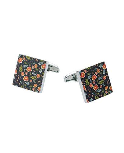 Savile Row Company Men's Rhodium-Plated Flower Pattern Cufflinks