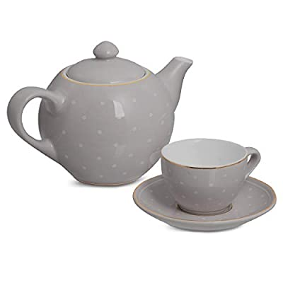 FAO SCHWARZ 9-Piece Hand-Glazed Ceramic Tea Party Set for Afternoon Tea, Service for 4, Includes Teapot with Lid, 4 Teacups, and 4 Saucers, Gray/Creme