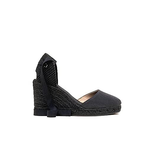 GAIMO - Espadrilles Schwarz Keil Jute - Textil, Schwarz - Pique Summer schwarz - Größe: 37 EU