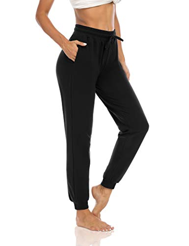 THANTH Womens Yoga Sweatpants Drawstring Workout Joggers Pants Loose Comfy Lounge Pants with Pockets Black S