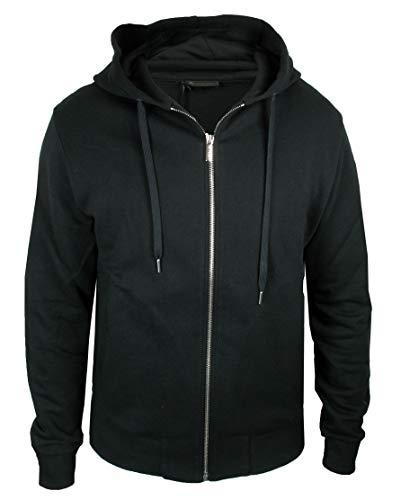 Versace Gym Herren Sweatjacke Zip Hoodie Logo Print schwarz