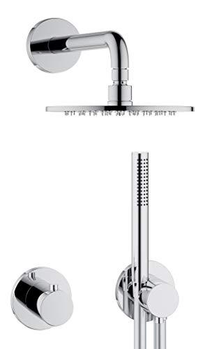 KEUCO IXMO Duschsystem 2 Verbraucher, Komplett-Set mit IXMO Thermostat, Kopf- und Handbrause, Brause-Schlauch, Brause-Halter, runde Rosetten