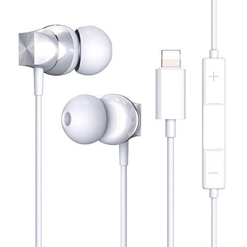 Lightning Headphones with Connector, Microphone - MFi Certified Wired in Ear Earbuds, Wired Noise Earphones for iPhone 11 Pro iPhone X/XS Max/XR iPhone 8/8 Plus iPhone 7/7 Plus/6/6S (Silver)