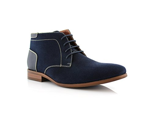 Ferro Aldo Raymond MFA806031 Mens Casual Brogue Mid-Top Lace-Up and Zipper Boots Blue