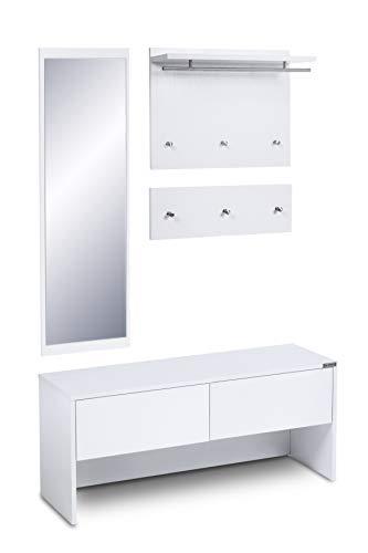 ts-ideen 4 teiliges Garderobenset Wandgarderobe Flurgarderobe mit Spiegel und Sitzbank Kommode in Weiß