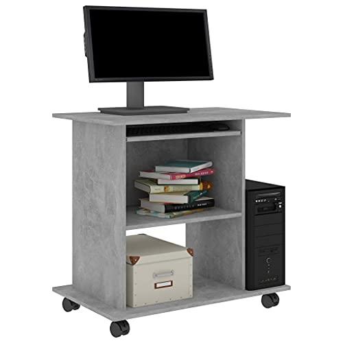 Susany Mesa de Ordenador con Bandeja Extraíble Mesa Ordenador Escritorio con 2 Estantes y Ruedas para Oficina Aglomerado Gris Hormigón 80x50x75 cm