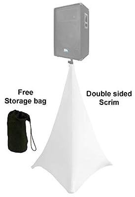 white spandex speaker tripod scrim light stand cover 2 sides covered