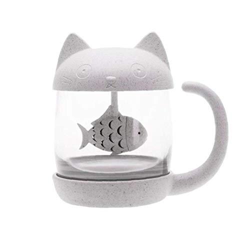 Taza de té con Infusor Gato de Cristal de café de la Taza con Pescado colador de Filtro para Suministros niñas Wowen para el hogar