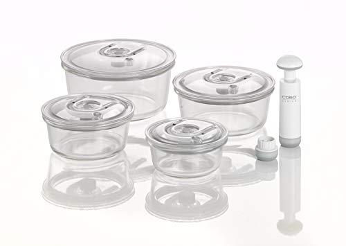 CASO VacuBoxx R-Set - rund - 4 hochwertige Design Vakuumbehälter, BPA-Frei, inklusive Vakuum-Handpumpe und Adapter für alle CASO Vakuumierer mit Behälterfunktion