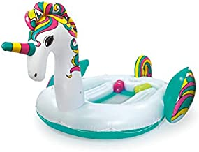 H2OGO! Giant Unicorn Floating Island Raft   Giant Inflatable Pool Float for Adults   Includes Mesh-Bottom, 8 Cupholders, & Carry Bag   Lounge Fits Up to 6 People   Great for Pool, Lake, River, Ocean
