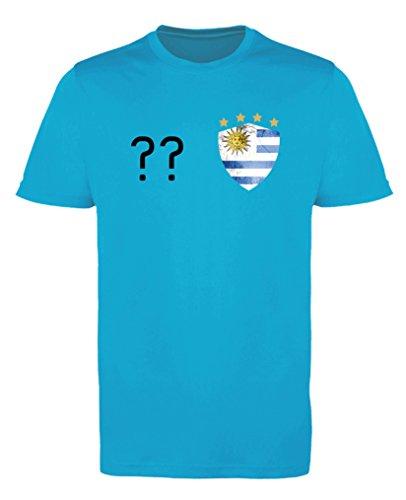 Comedy Shirts - Uruguay Trikot - Wappen: Klein - Wunsch - Mädchen Trikot - Hellblau/Schwarz Gr. 134-146
