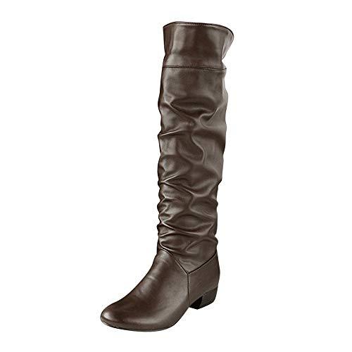 WUSIKY Bootsschuhe Damen Stiefeletten Boots Damen Winter Kniehohe Stiefel High Tube Flache Absätze Reitstiefel (Braun, 40 EU)