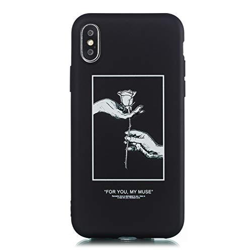 CUAgain Funda Compatible con iPhone XS/iPhone X Silicona Dibujos Motivo Negro Kawaii Ultrafina One Piece Carcasa iPhone X Case Antigolpes Bumper Protección Resistente Cover,Rosa