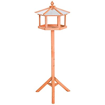 Pawhut Bird Stand Feeder Feeding Station Wood Coop Parrot Stand Table For Garden 113cm High from Sold by MHSTAR