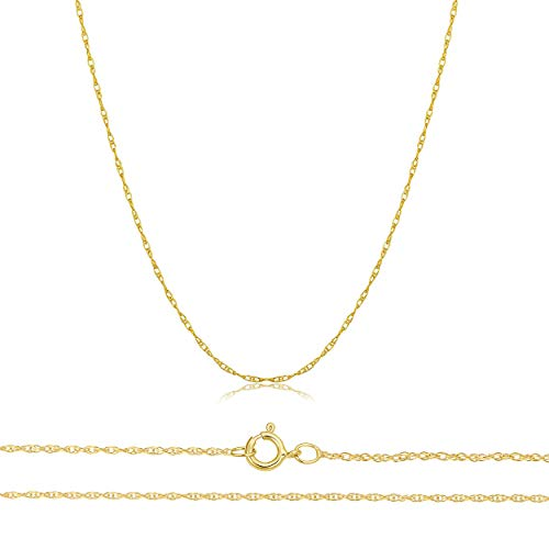 Orostar Solid 10K Yellow, White, Rose Gold 0.8mm Thin Rope Chain 16\'-30\' (Yellow Gold, 16)