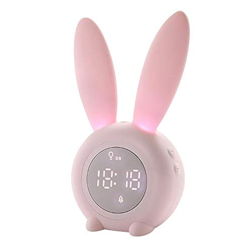 HYGGE Bunny Ear Alarm Clock Electronic LED Display Sound Control Rabbit Night Lamp (Pink)