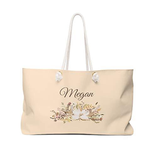 Sac fourre-tout personnalisable pour demoiselle d'honneur, cadeau de lune de miel, sac de week-end, sac de nuit avec poignée en corde