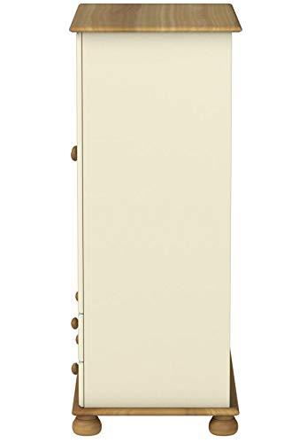 Steens Richmond Kleiderschrank/ Wäscheschrank, 2 Türen, 2 Schubladen, 88 x 137 x 46 cm (B/H/T), teilmassiv, weiß/gelaugt lackiert