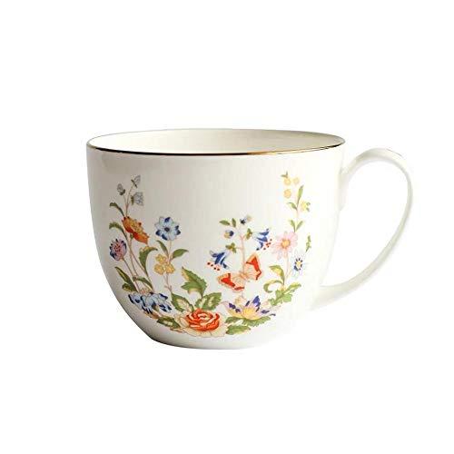 mglxzxxzc Taza De Café De Porcelana De Hueso Europea Cerámica Creativa Rose Bird Flor Patrón Taza De Leche Taza De Té Taza De Desayuno
