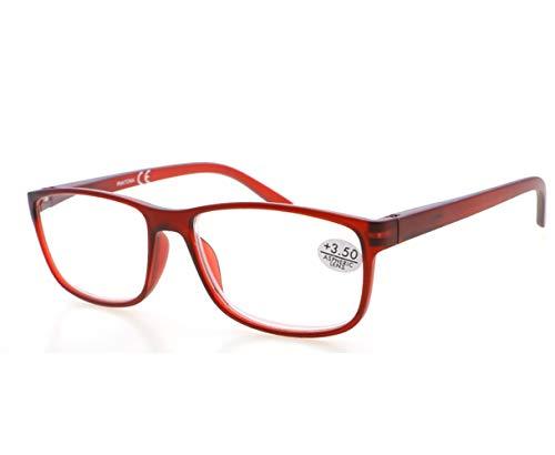 2 Gafas de Lectura Presbicia PANTONA, Vista Cansada con Filtro Anti Luz Azul. Cristales Anti-reflejantes. Gafas Graduadas de Lectura para Hombre y Mujer. 6 colores y 7 graduaciones. Montura roja