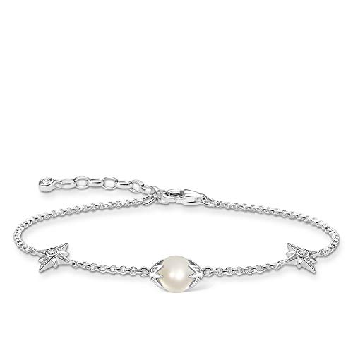 THOMAS SABO Women's Bracelet Pearl with Stars 925 Sterling Silver 19.00 cm White, Silver