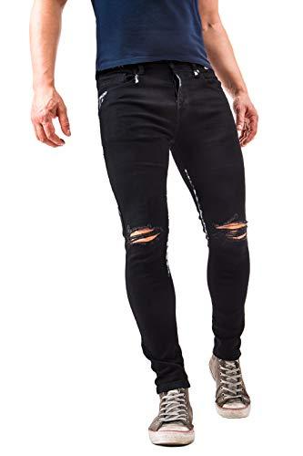 Instinct Jeans Uomo Strappato Slim Fit Elasticizzati Skinny Stretti alla Caviglia Taglio Ginocchio Neri Vernice 916 (48 IT, Nero)