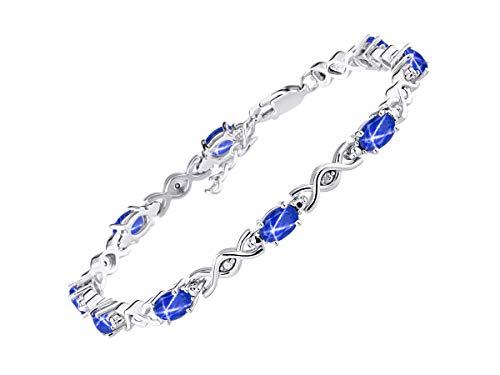 RYLOS Spectacular Tennis Bracelet Set With Blue Star Sapphire & Diamonds - September Birthstone