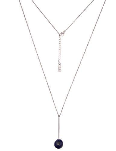 Leslii Damen-Kette echter Natur-Stein Kugel-Anhänger Stein-Kette Blaue Modeschmuck-Kette Lange Halskette in Silber Blau