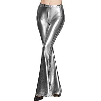 Womens Shinny Metallic Sequins High Waist Stretchy Bell Bottom Flared Pants Wet Look Pants Club Wear  Silver 2 XXL