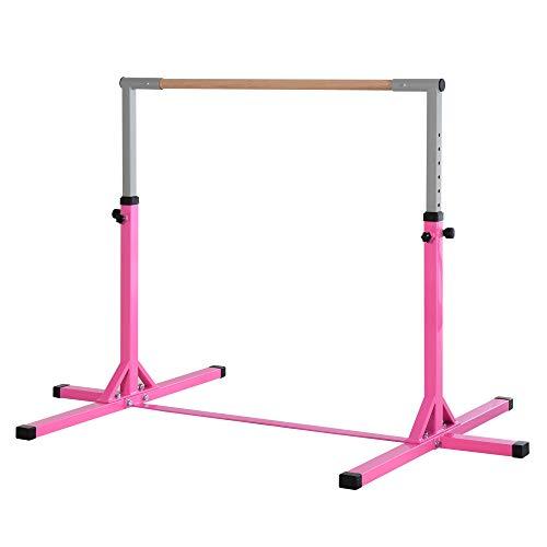 HOMCOM Gymnastik Turnreck Reckstange 13-stufige höhenverstellbar bis 75 kg belastbar Reckanlage Trainingsgeräte Stahl Buchenholz Rosa