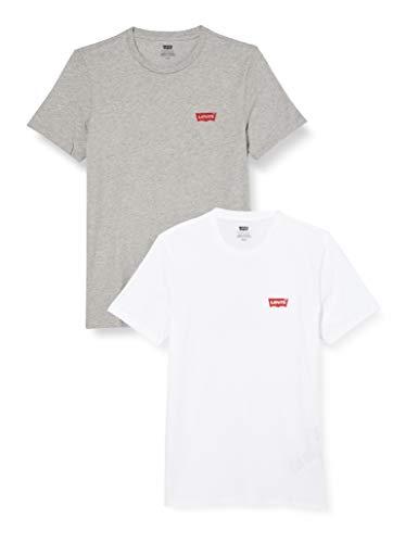 Levi's 2Pk Crewneck Graphic T-Shirt, 2 Pack HM White/Mid Tone Grey Heather, M Uomo