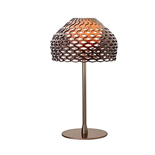 TJLSS Lámpara de Mesa Moda nórdica Hollow Sala de Estar Estudio Simple Dormitorio Moderno Mesa de Noche Lámpara (Color : Brown)