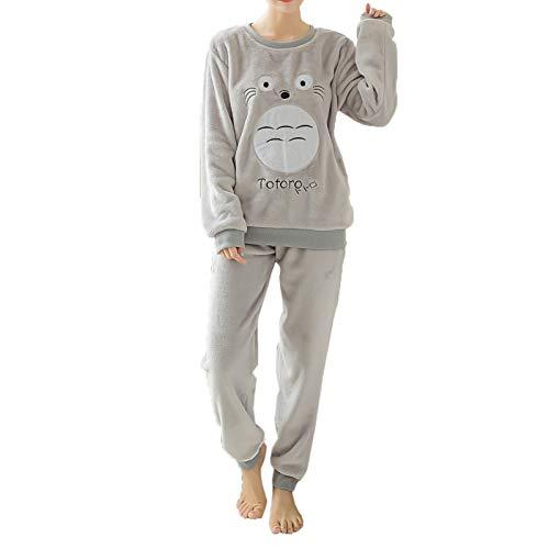 Elonglin Ensemble de Pyjama 2 pièces avec Manches Longues Femme Fille Hiver Combinaison Pyjamas Extra Doux Cartoon Imprimé en Flanelle Vêtements de Nuit Noël Gris Totoro Taille FR 48 (Asie XXL)