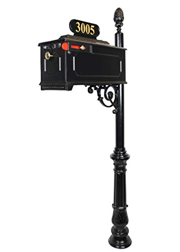 ADDRESSES OF DISTINCTION Emerson Black Mailbox with Address Plaque, Flag, and Numbers Included Complete Luxury Mailbox and Post Combo Kit (Emerson)