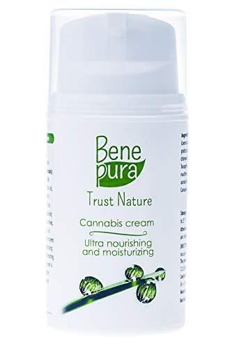 BenePura Cannabis Gezichtscrème 50ml - Natuurlijke Vitamine C, Jojoba-, Castor- & Kokosolie, Sheaboter, Hennepolie + Retinol – Anti-rimpel, Verzacht de huid en Maakt deze Gladder - Geschikt voor een Vette Gevoelige Huid